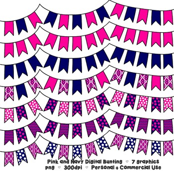 Pink and Navy Bunting Banner Clipart - 7 graphics for Commercial Use