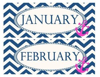 Pink and Navy Calendar Months
