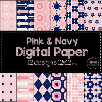 Pink and Navy Digital Paper