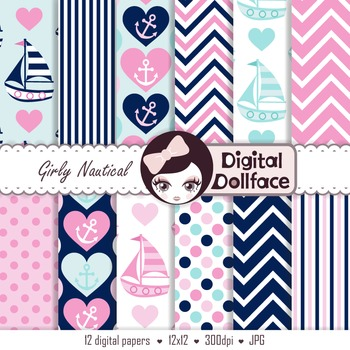 Pink and Navy Digital Paper, Nautical, Anchor Backgrounds