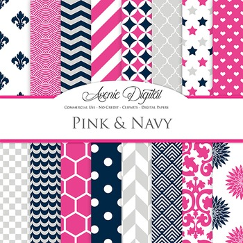 Pink and Navy Digital Paper patterns - backgrounds