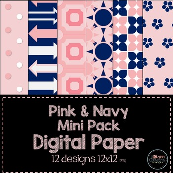 Pink and Navy Mini Pack Digital Paper
