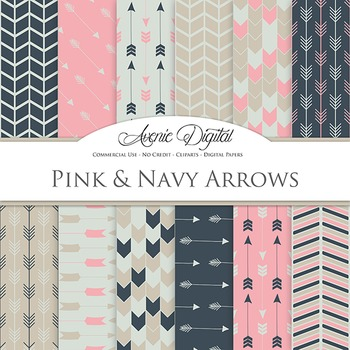 Pink and Navy Digital Paper patterns tribal arrows vintage scrapbook background
