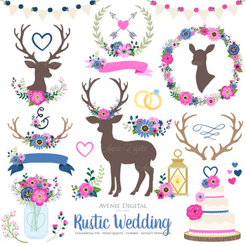 Pink and Navy Rustic Wedding Clipart - Pink Navy Deer and Flower Wreath Graphics