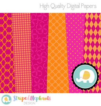 Pink and Orange Digital Papers