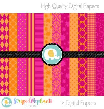 Pink and Orange Digital Papers
