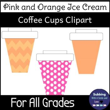 Pink and Orange Ice Cream Coffee Cups Clipart