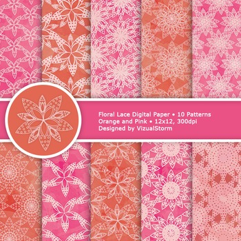 Pink and Orange Floral Lace Digital Paper, 10 Spring Background Patterns