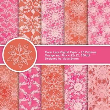 Pink and Orange Floral Lace Digital Paper, 10 Spring Backg