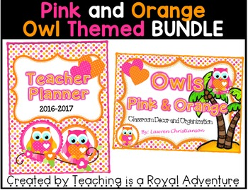 Pink and Orange Owl Themed MEGA BUNDLE