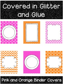 pink and orange printable binder covers by covered in glitter and glue