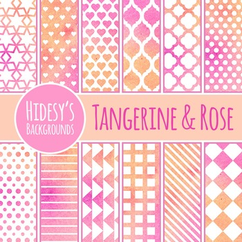 Pink and Orange Watercolor Backgrounds / Digital Papers Clip Art Commercial Use