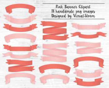 Pink Banner Clipart - 18 Handmade Coral Banner Illustrations