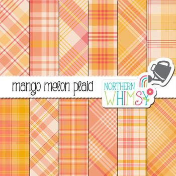 Pink and Peach Plaid Digital Paper