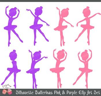 Pink and Purple Ballerina Ballerinas Silhouettes Clipart Set