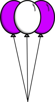 Pink and Purple Balloon Clip Art: 15 Different Images!