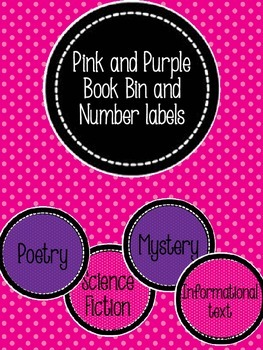 Pink and Purple Book Bin and Number Labels