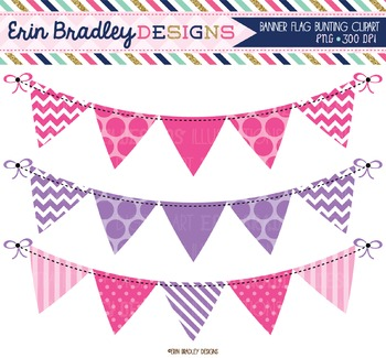 Pink and Purple Bunting Clipart
