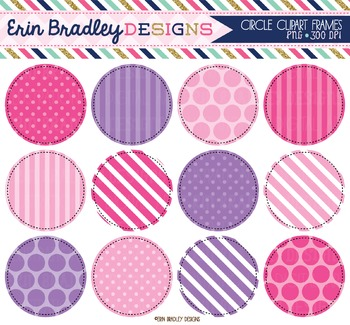 Pink and Purple Circle Frame Clipart