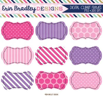 Pink and Purple Digital Clipart Labels