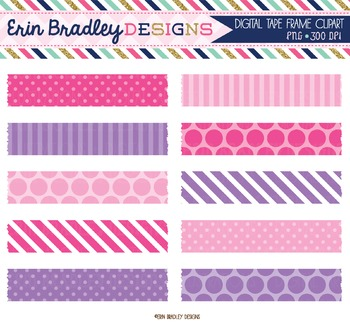 Pink and Purple Digital Washi Tape Clipart