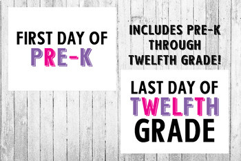 Pink and Purple First Day of School and Last Day of School Printable Posters