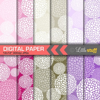 Pink and Purple Floral Digital Papers, Dahlias Digital Backgrounds