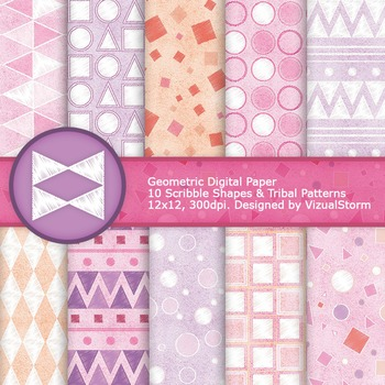 Pink and Purple Geometric Digital Paper, Pastel Scribble Tribal Backgrounds