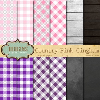 Pink and Purple Gingham Digital Paper Backgrounds