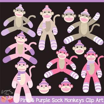Pink and Purple Lavender Sock Monkeys Clip Art Set