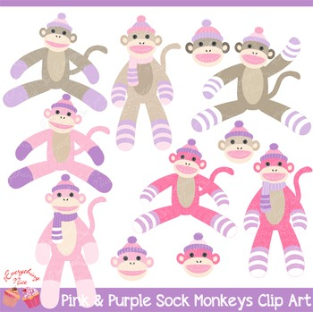 Pink and Purple Lavender Sock Monkeys Clip Art Set