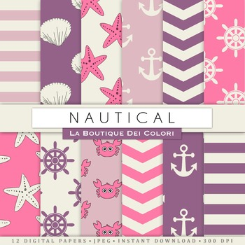 Pink and Purple Nautical Digital Paper, scrapbook backgrounds