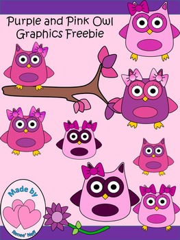 Pink and Purple Observant Owl Graphics Freebies
