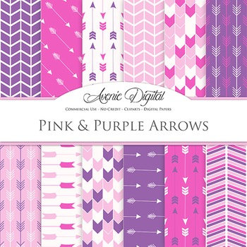 Pink and Purple Digital Paper patterns tribal arrows nativ