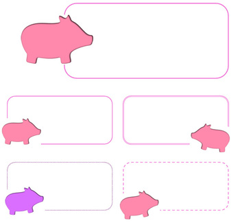 Pink and Purple Pigs Name Tags
