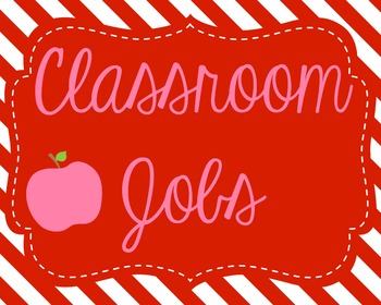 Pink and Red Apple Classroom Jobs