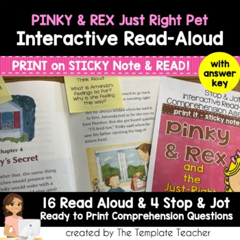 Reading Comprehension & Interactive Read Aloud with Pinky and Rex Just Right Pet