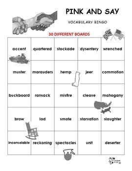 Pink and Say Vocabulary Bingo