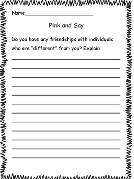 Pink and Say by Patricia Polacco: Activity Packet