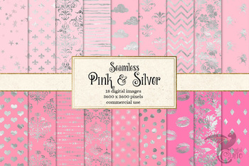Pink and Silver Digital Paper, seamless patterns and backgrounds