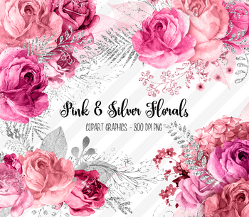 Pink and Silver Flowers Clipart, glitter watercolor floral clip art
