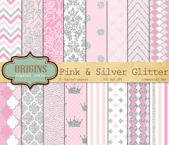 Pink and Silver Glitter Digital Paper Backgrounds
