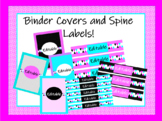 Pink and Teal Geometric Binder Covers and Spine Labels