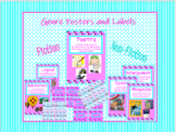 Pink and Teal Geometric Genre Posters and Labels