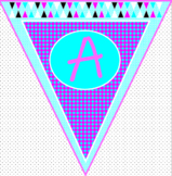 Pink and Teal Geometric Pennants