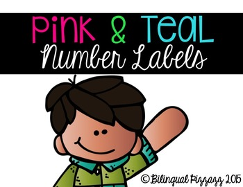 Pink and Teal Number Labels