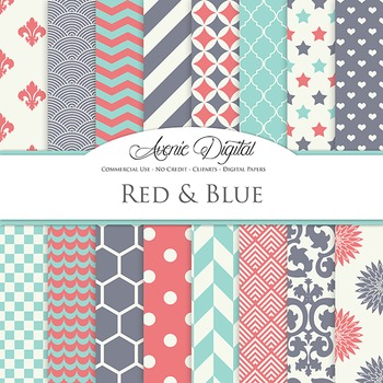 Pink and Turquoise Blue Digital Paper patterns - backgrounds