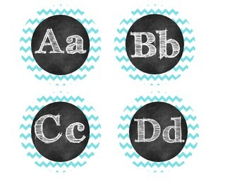 Pink and Turquoise Chevron Word Wall Headers