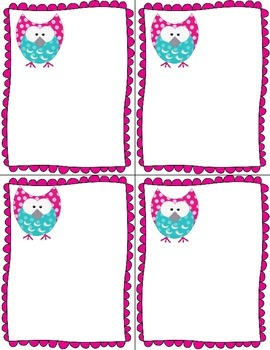 Pink and Turquoise Owl Table Numbers and Name Plates