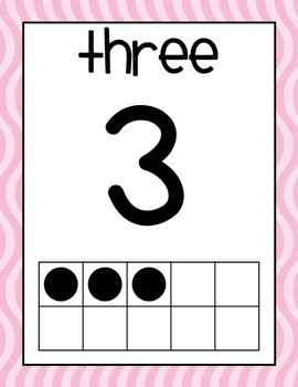 Pink and Wavy Number Posters 0-20
